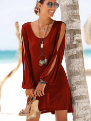 Round Neck Slit Sleeves Solid Color Shift Dress