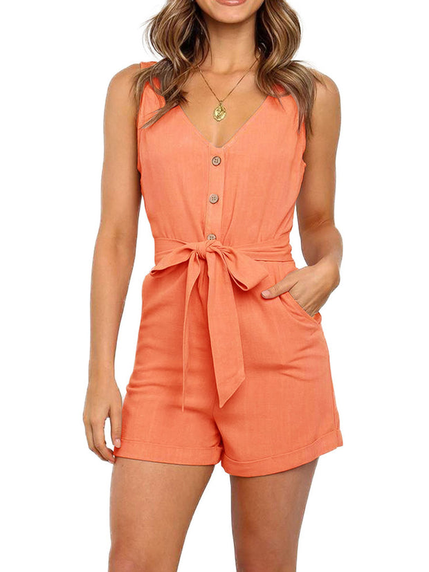 Sleeveless Solid Color Rompers