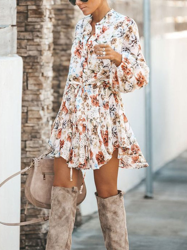 Floral Adjustable Balloon Sleeve Dress