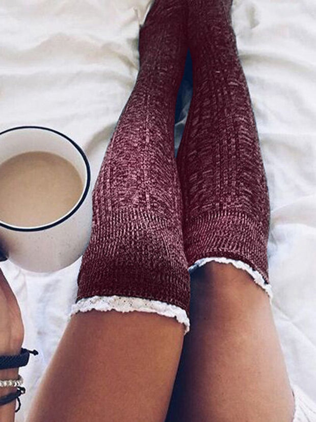 Lace Splicing Knitted Thigh-High Socks