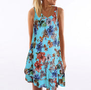 Sleeveless V-neck Double Print Dress