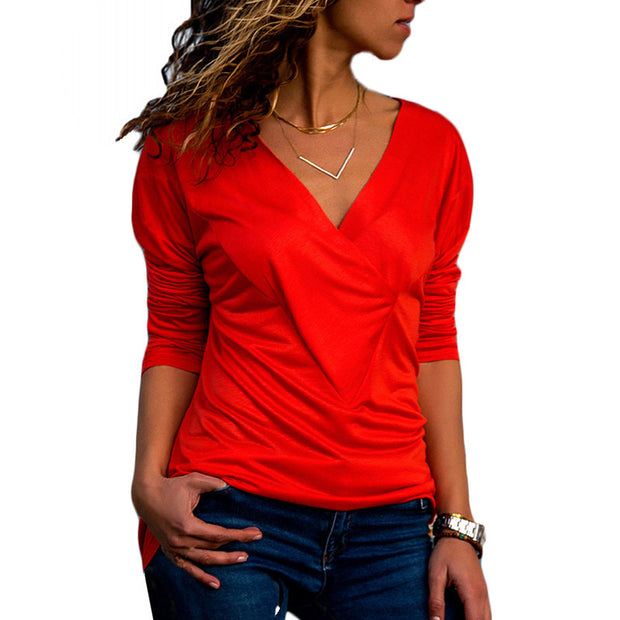 Solid Color V Neck Long Sleeve  T Shirt