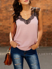V-Neck lace Splicing Tank top
