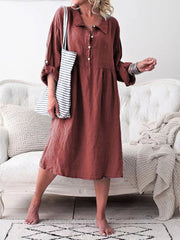 Cotton and Linen Solid Color Dress