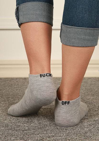 FUCK OFF Embroidery Unisex Ankle Socks
