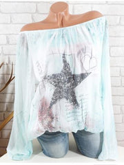 Off-the-shoulder Star printed Blouse