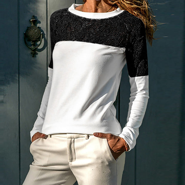 Patchwork Lace Hollow Out Long Sleeves T Shirt