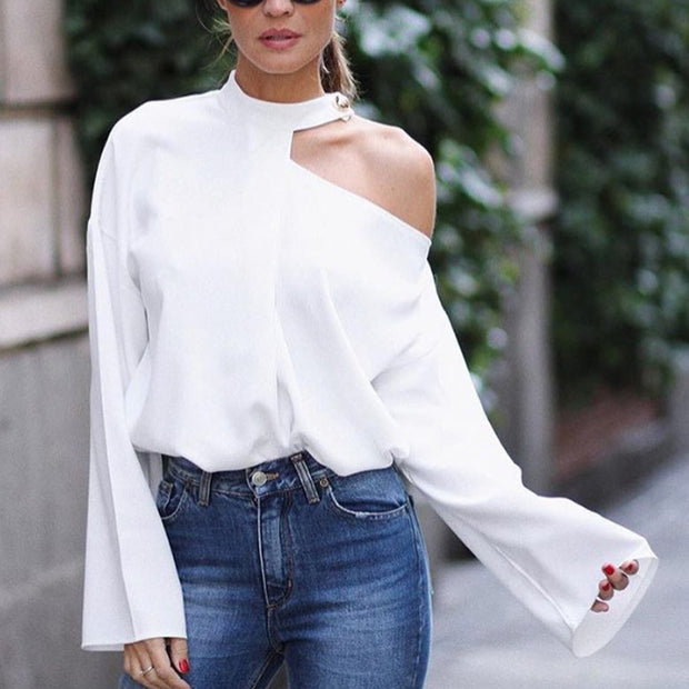 Solid Color Off Shoulder Long Sleeves T Shirt