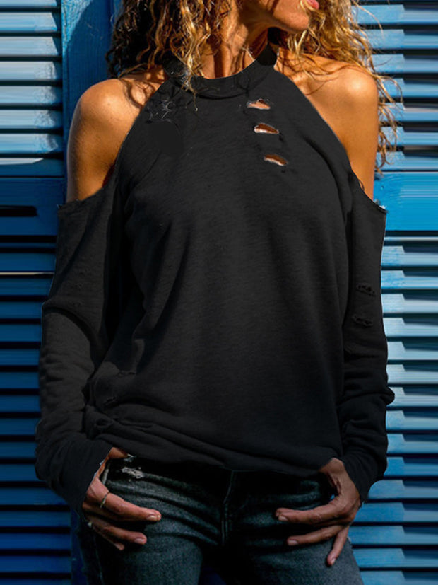 Hollow Out  Off-the-shoulder T-shirt