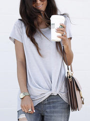 Solid Color Tie T-Shirt