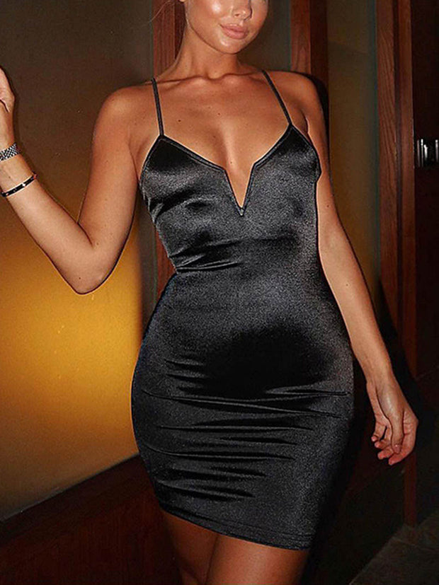 V-Neck Straps Solid Color Bodycon Dress