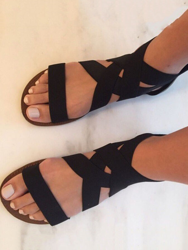 Cross Bind Flat Sandals