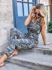 Camouflage Printed Tie Sleeveless Jumpsuit