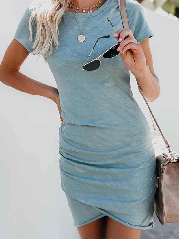 Round Neck Short Sleeves Irregular Hem Solid Color Bodycon Dress