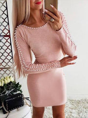 Round Neck Long Sleeves Bodycon Dress