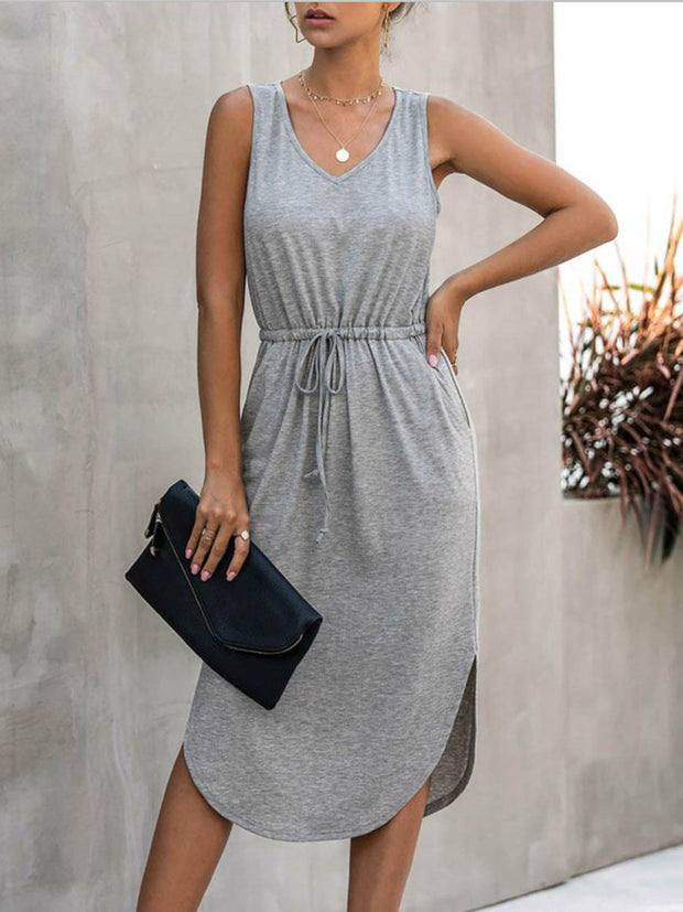 Round Neck  Lace-up Dress