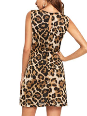 Leopard V-Neck Mini Dress