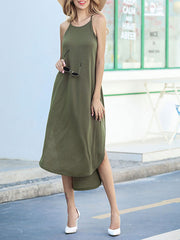 Solid Color Sling Split Shift Dresses
