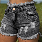 Tassel ripped denim shorts