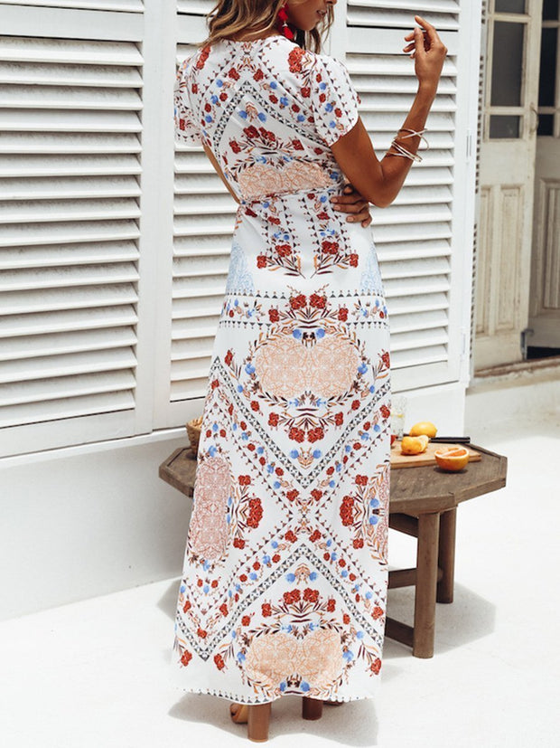 V-neck Printing Summer Maxi Dress