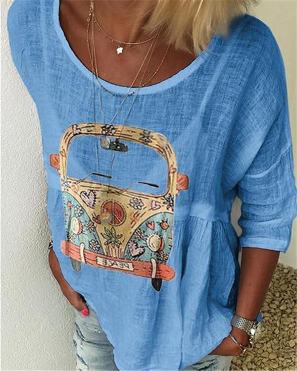 Printed Casual Crew Neck Holiday T-shirt
