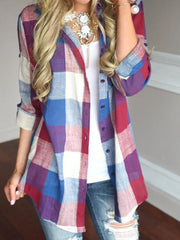 Lapel Plaid Casual Blouse