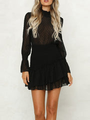 Ruffled See-Through Solid Color Long Sleeves Lace Dress