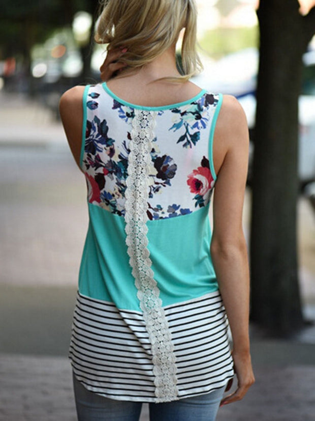 Lace Splicing Floral Tank Top