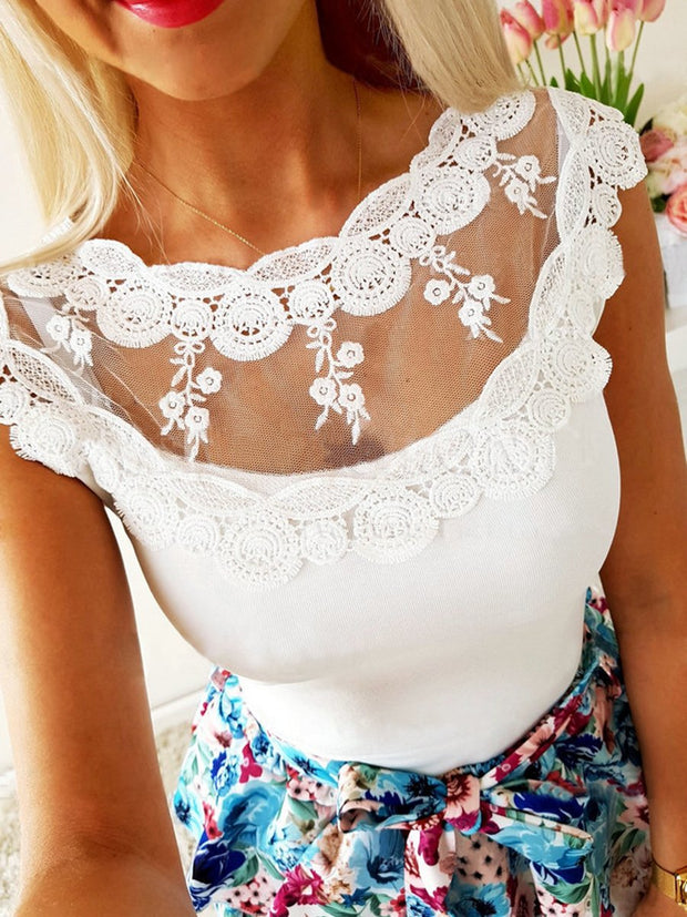 Sexy Solid Color Lace Round Neck T-shirt