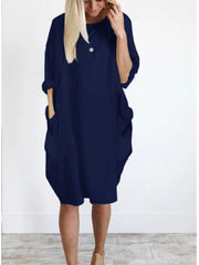 Casual Pocketed Loose Shirt Dress