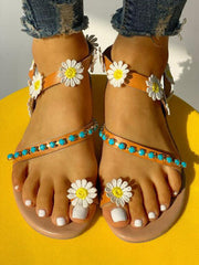 Sunflower Bead On Flat Sandals