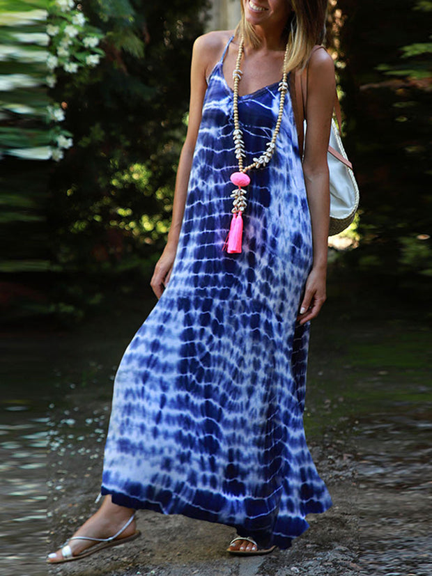Spaghetti Strap Tie Dye Maxi Dress