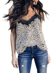 V-Neck Lace Leopard Printed Tank Top