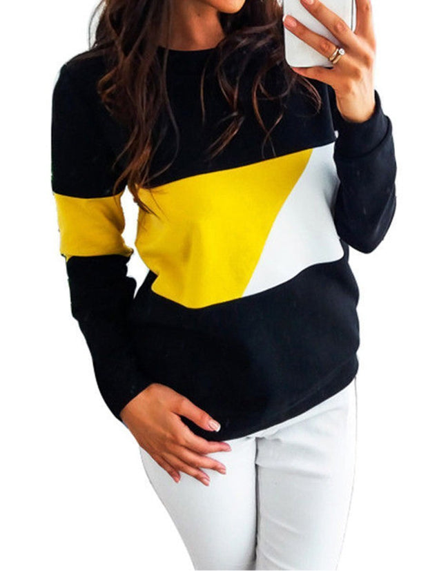 Fashion Splice Stripe Round Neck Sweatshirt