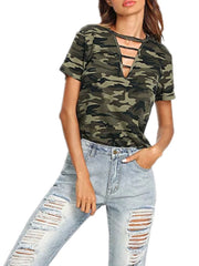 Camo Hollow Out T-shirt