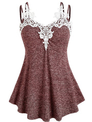 Lace Splicing Straps Tank Top