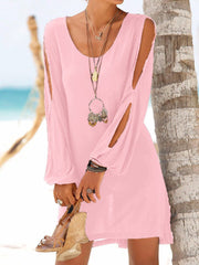 Deep V-Neck Loose Casual Dress