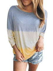 Fashion Gradient Long Sleeve Casual T-shirt