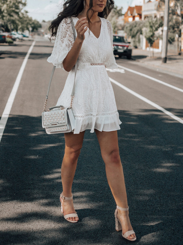 V-Neck Lace Hollow Out Mini Dress