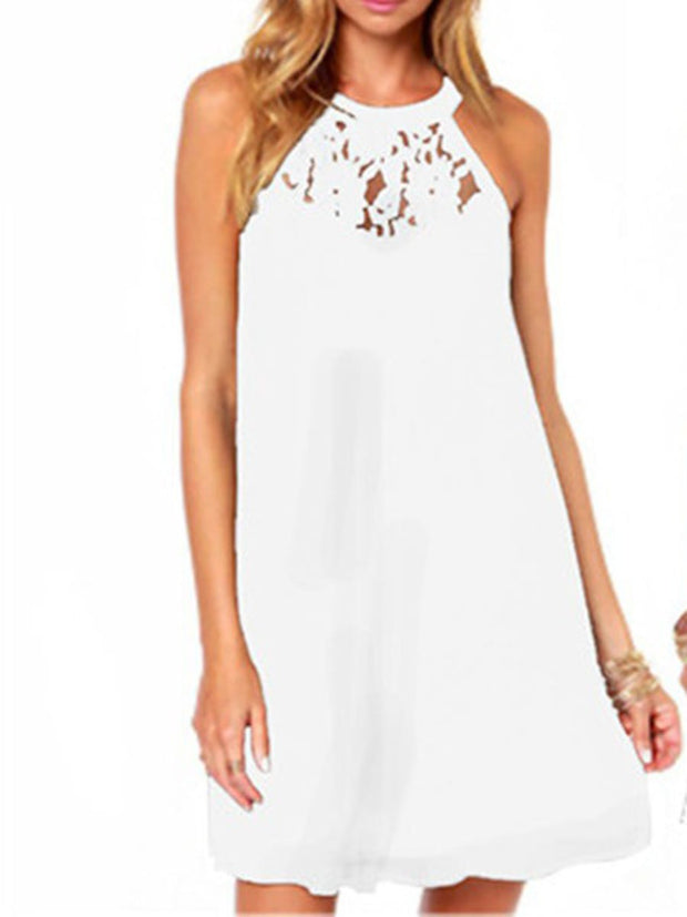 Halter Lace Splicing Dress
