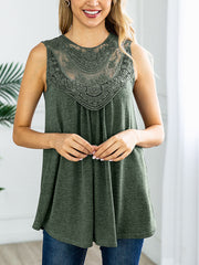 Round Neck Sleeveless Lace Splicing Tank Top