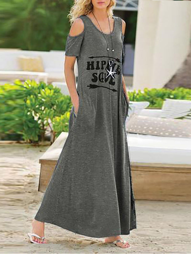 Round Neck Cold Shoulder Dress