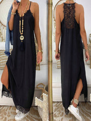 Sexy Solid Color Sling Lace Maxi Dress
