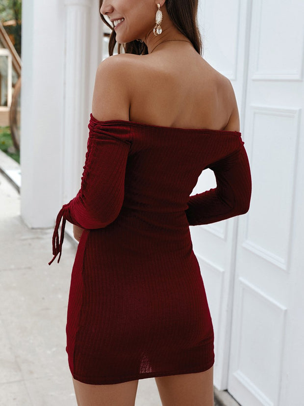Off-the-shoulder  Package Buttocks Lace-up Long Sleeves Dress