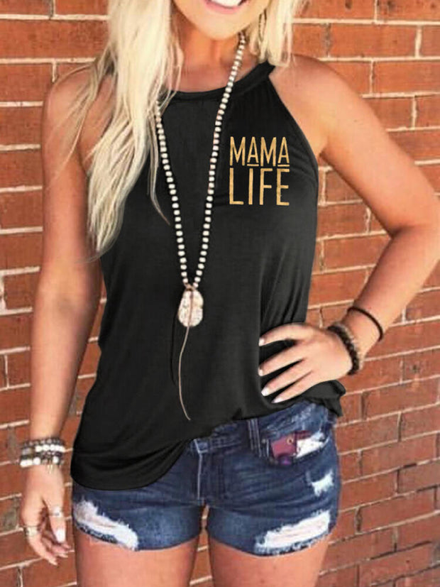 Mama Life Letters Printed Tank Top Without Necklace