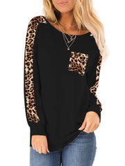 Leopard Pocket Long Sleeves T-shirt