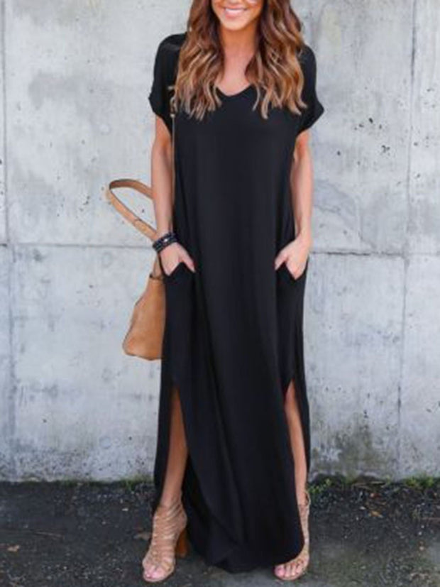 Casual Style Solid Color Short Sleeves High Split Maxi Dress
