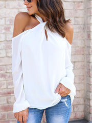 Halter Solid Color Shirt