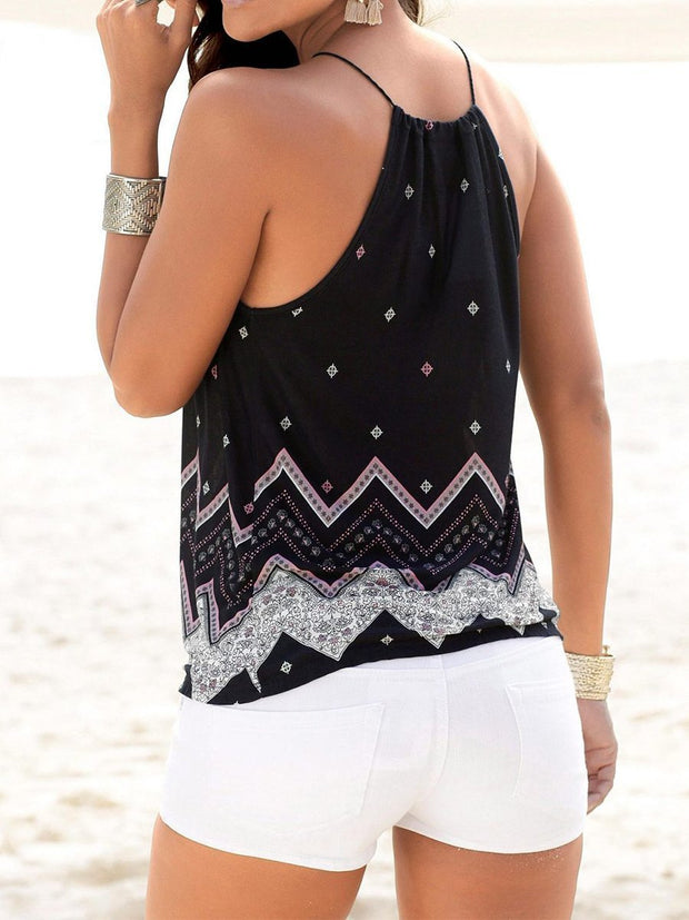 Beach V-neck Sling Printing Casual Tank Top