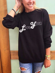 LOVE YOU Letter Round Neck  Long Sleeves Sweatshirt